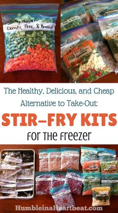 healthy meals food recipes diiner cooking Save time and money by making these freezer stir-fry kits. Theres nothing like having a healthy meal just waiting in the freezer on an insanely busy day! Make Ahead Freezer Meals, Crock Pot Freezer, Freezer Cooking, Cooking Recipes, Easy Meals, Freezer Recipes, Cooking Games, Thai Cooking, Cooking Bacon