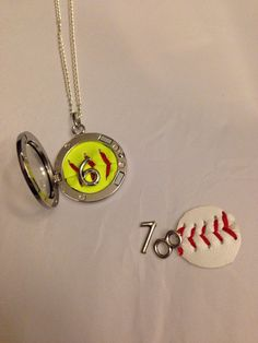 Baseball or Softball locket necklace by AWingandABead on Etsy, Softball Necklace, Softball Jewelry, Softball Crafts, Softball Quotes, Softball Shirts, Softball Pictures, Softball Stuff, Softball Team Names, Softball Uniforms