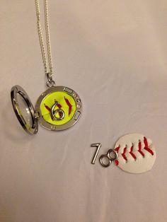 Baseball or Softball locket necklace by AWingandABead on Etsy