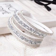 Crystal 6 Layer Bracelet Slake PU Leather Bracelet with Snap Button Bracelet Bangle Couple Jewelry JJAL B364