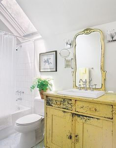 DIY: Repurpose a mirrored dresser as a sink cabinet by making a cutout in the top for a drop-in lav.