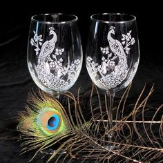 Peacock Wine Glasses, Etched Glass, Peacock Decor, Peacock Quinceanera - The Wedding Gallery by Brad Goodell www.BradGoodellWeddings.com