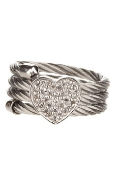 Diamond Heart Ring-I love how different this is with the rope band!