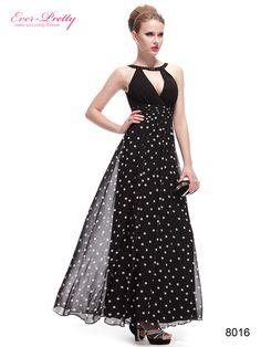 Padded Black & White Polka-Dotted Long Black Evening Dress
