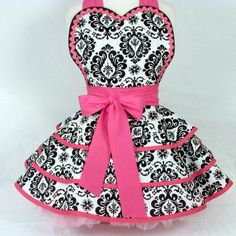 hot pink and damask aprons -  we all need one of these to wear in preparation of the shower. @Lora Hale