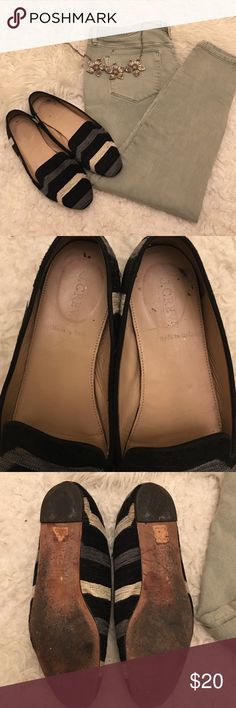 J. Crew Currant Darby Fabric Loafers. Size 8 Great little smoking loafers. Exterior is soft and fuzzy. Bottoms have signs of wear but there are no holes or rips. Soles are very sturdy. Tons of life left. Perfect for any outfit. J. Crew Shoes Flats & Loafers