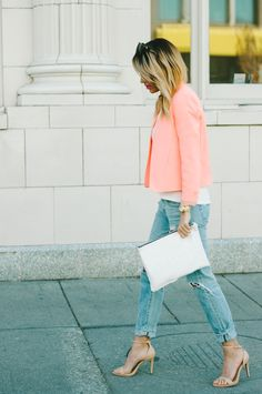 Wear jeans to work. Distressed boyfriend jeans, white tee & clutch, nude heels and a great jacket/blazer.