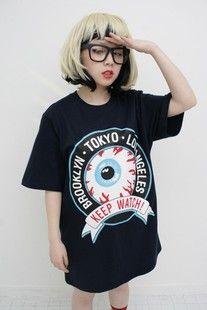 Japanese Harajuku Mishka eyeball T Eye short-sleeved T-shirt Korean Fashion Winter, Korean Fashion Dress, Korean Fashion Casual, Summer Fashion Outfits, Fashion Wear, Japanese Street Fashion, Tokyo Fashion, Harajuku Fashion, Grunge Fashion