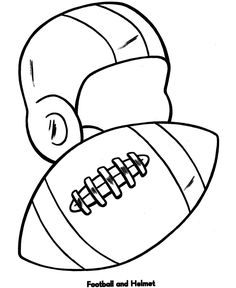 easy coloring pages football and helmet