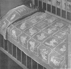 1940's Baby Filet Crochet Animals Crib Cover Vintage Pattern - 18 Animals