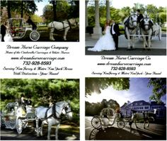 New business cards printed front and back to show all the Cinderella Carriages we offer.