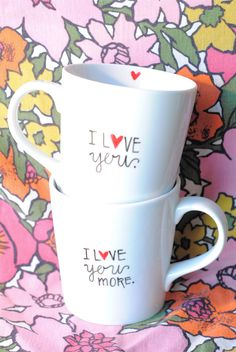 I Love You Coffee Mugs- Customizable/Personlized I Love You More Christmas Present by GreySkiesBlue on Etsy