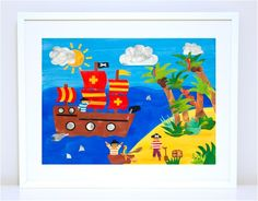 Art Prints for Kids' Bedrooms. Pirates - Ahoy There. Available in small, medium and large prints on high quality satin paper.
