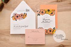 New at Smitten: Southern Peach Wedding Invitation