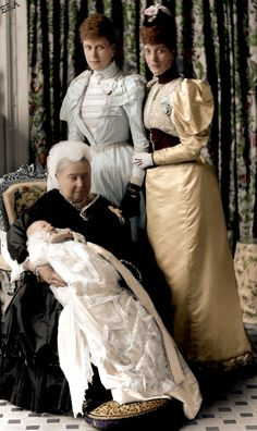 """nikolaevnas: """" Queen Victoria of the United Kingdom holding her great-grandson Prince Edward (later King Edward VIII) accompanied by the infant prince's grandmother Alexandra, Princess of Wales (later Queen consort to King Edward VII) and his mother. Queen Victoria Family, Queen Victoria Prince Albert, Princess Victoria, Princess Mary, Victoria Queen Of England, Edward Viii, Henry Viii, English Royal Family, British Royal Families"""