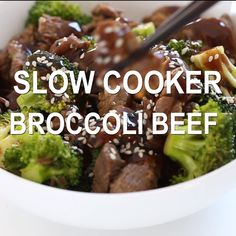 Super tender steak cooked low and slow for 5 hours, full of your favorite Asian flavors! Crockpot Beef And Broccoli, Easy Beef And Broccoli, Slow Cooker Broccoli, Broccoli Recipes, Slow Cooker Beef, Chinese Slow Cooker Recipes, Healthy Beef Recipes, Asian Recipes, Super Food Recipes