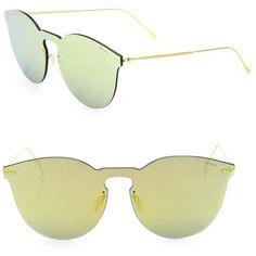 04e843a9bf8 Illesteva Leonard II 50MM Mirrored Mask Sunglasses ( 200) ❤ liked on  Polyvore featuring accessories