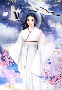"""Nadeshiko"" Beautiful lady in a white kimono by artist Ato Fujihara."