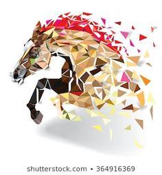 Ambesonne Horse Abstract Art Wild Animal Shower Curtain Set Size: H x W Polygon Art, Pattern Drawing, Animal Tattoos, Horse Tattoos, Abstract Styles, Abstract Art, Horse Art, Geometric Art, Illustration