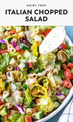 This Italian chopped salad recipe is incredibly delicious and packed with a mixture of vegetables, meat, & pasta, and topped with a creamy Italian dressing. Italian Salad Recipes, Italian Chopped Salad, Chopped Salad Recipes, Salad Dressing Recipes, Pasta Salad Recipes, Chopped Salads, Dairy Free Salads, Dairy Free Recipes, Recipes With Ditalini Pasta