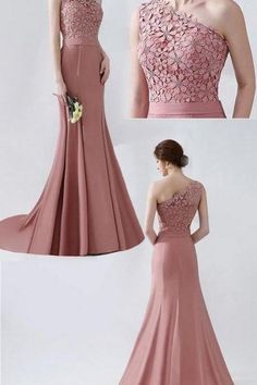 pink party dress one shoulder evening dress lace applique prom dress mermaid formal dress sold by shuiruyandresses. Shop more products from shuiruyandresses on Storenvy, the home of independent small businesses all over the world. Elegant Dresses For Women, Girls Formal Dresses, Special Dresses, Mermaid Evening Dresses, Evening Gowns, Flapper Dresses, Simple Evening Gown, Pink Evening Dress, Dress Night