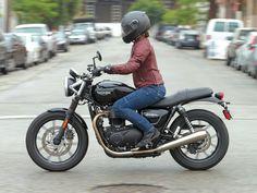 Triumph Bonneville Street Twin, female rider, woman, motorcycle