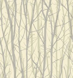 Tree Silhouette (SK175202) - Shand Kydd Wallpapers - A striking tree trunk and branch design shown in cream with silver trees and beige silhouettes. This is a pre pasted product. Please request a sample for true colour match. Wide Width