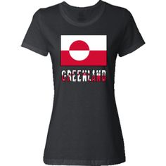 Greenland Flag & Name - Snow Jr. T-Shirt - Black | Flags of Nations or Flagnation