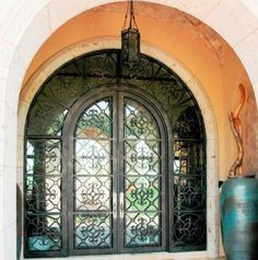 - Wrought Iron Doors, Windows, Gates, & Railings from Cantera Doors Minus tacky sidelight Steel Windows, Windows And Doors, Mediterranean Homes Exterior, Gate Hardware, Wrought Iron Doors, Build Your Own House, Entry Doors, Front Doors, Iron Steel