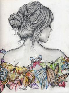 Girl Drawing Sketches, Girly Drawings, Pencil Art Drawings, Cool Drawings, Easy Butterfly Drawing, Simple Butterfly, Butterfly Art, Tears Art, Body Drawing