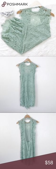 """FP 'Daydream' Bodycon Slip Dress You'll turn heads in this gorgeous bodycon lace dress by Intimately Free People. Features a high neck, scalloped trim, frayed cap sleeves and an open cutout in back. Lining features a sweetheart neckline. Hand wash cold. Color is seafoam.   There's a good amount of stretch since it's a bodycon. Approx measurements: - Bust: 30"""" - Waist: 29"""" - Hips: 34"""" - Length: 34""""  🍃Offers are welcome! Or bundle this with any item from my closet and automatically get a 10%…"""