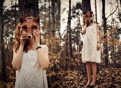 Fox girl in the woods