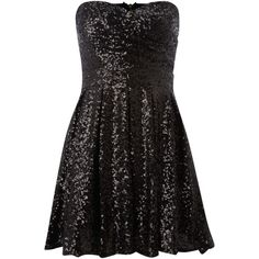 tfnc Sweetheart sequin puff skirt dress (37.490 CLP) ❤ liked on Polyvore featuring dresses, vestidos, robe, short dresses, black, sequin dresses, sequin mini dress, short sequin cocktail dresses and puffy prom dresses