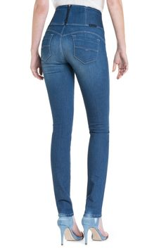 Five Salsa High Waisted Distressed Skinny Jeans - Med blue denim Pieces X6rCDhPRL