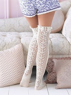 Knitted Lace Stockings, now where to find a pair of legs to go with them.