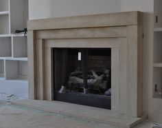 Cast Stone Fireplace mantel Contemporary Modern Traditional style custom made Limestone Mantel Stone Fireplace Surround, Stone Fireplace Mantel, Limestone Fireplace, Concrete Fireplace, Farmhouse Fireplace, Home Fireplace, Marble Fireplaces, Modern Stone Fireplace, Fireplace Ideas