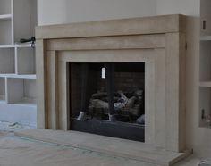 Contemporary Slab Stone Fireplace Calacutta Carrara
