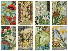 Set of 8 Art Nouveau Floral Cross stitch Patterns / pdf / Carnation / Lily / Poppy / Thistle / Nasturtium / Tulip / Iris / Daisy