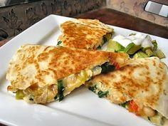 Chicken, Spinach and Cannellini Bean Quesadillas