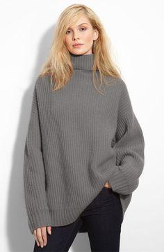 Leith 'Fisherman' Oversized Cashmere Turtleneck Sweater | Nordstrom