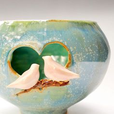 Love Birds Candle Luminary Vase wedding gift handmade stoneware pottery in Ice Crystal Blue