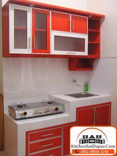 kitchen set bogor: kitchen set minimalis di Bogor harga murah Small Kitchen Plans, Small Modern Kitchens, Small Cottage Kitchen, Kitchen Sets, Home Decor Kitchen, Birch Kitchen Cabinets, Kitchen Cabinet Design, Kitchen Layout, Small Space Interior Design