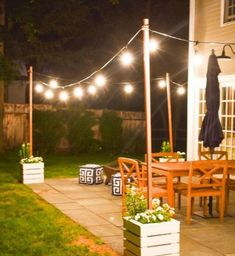 Awesome Patio Yard String Lights Ideas 04 You are in the right place about outdoor lighting post Here we offer you the most beautiful pictures about the modern outdoor lighting you are looking for. Concrete Patios, Backyard Lighting, Outdoor Lighting, Patio Lighting Ideas Diy, Balcony Lighting, Landscape Lighting, Rustic Outdoor, Outdoor Decor, Outdoor Ideas