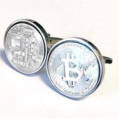 Silver Bitcoin Cufflinks Digital Crypto Currency  100%