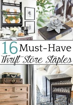 A round-up of 16 of the most common thrift store staples that can be transformed into home decor using a few simple changes. #thrifting
