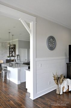 Casing A Doorway And Adding Corbels in the kitchen. How to add character in the kitchen adding craftsman style corbels. Corbel ideas. How to add corbels to a doorway. Craftsman Door, Craftsman Style, Easy Home Decor, Basement Remodeling, Basement Plans, Basement Storage, Remodeling Ideas, Kids Basement, Walkout Basement