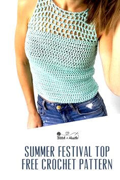 Catalina Crochet Tank Top Free Pattern — Stitch & Hustle Lullaby Lodge: Crochet tops, perfect for your summer wardrobe - Free crochet patterns selected by Lullaby Lodge. T-shirt Au Crochet, Moda Crochet, Pull Crochet, Gilet Crochet, Crochet Woman, Crochet Edgings, Crochet Vests, Crochet Stitches, Crochet Sweaters