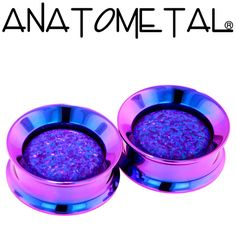 Floating Stone Eyelets in titanium, anodized blurple; synthetic opal #52 (purple) gems
