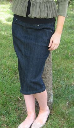 Side Zip Denim Skirt - modest below the knee length with a back kick pleat rather than a slit!