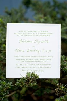 Classic green wedding invitations // photo by http://cynkainphotography.com, see more: http://theeverylastdetail.com/2013/09/13/classic-eclectic-pink-green-new-jersey-wedding/